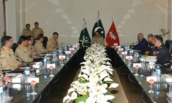 COAS chairs security briefing at Corps V Headquarters, Karachi