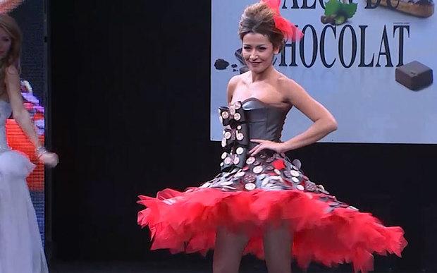 Chocolate dresses at Paris fashion show