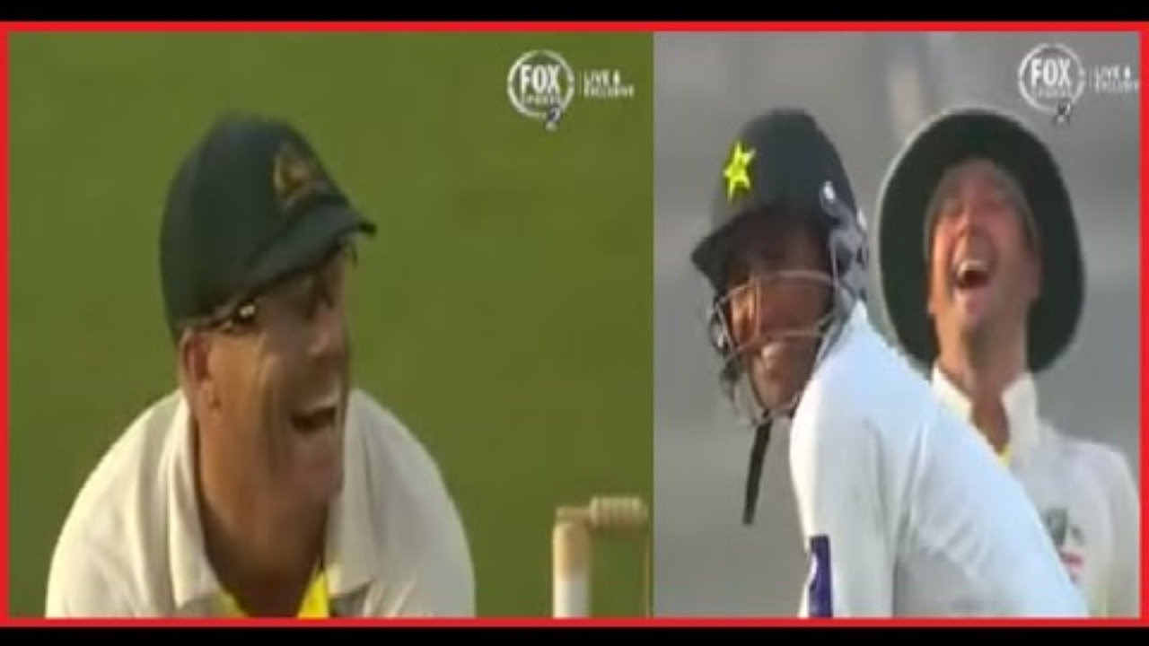 Younis Khan and David Warner Laughing on Cricket Screen