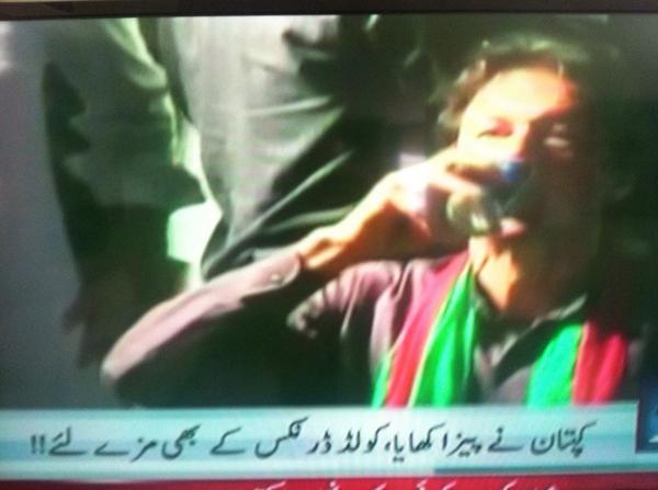 Imran Khan had pizza in Karachi