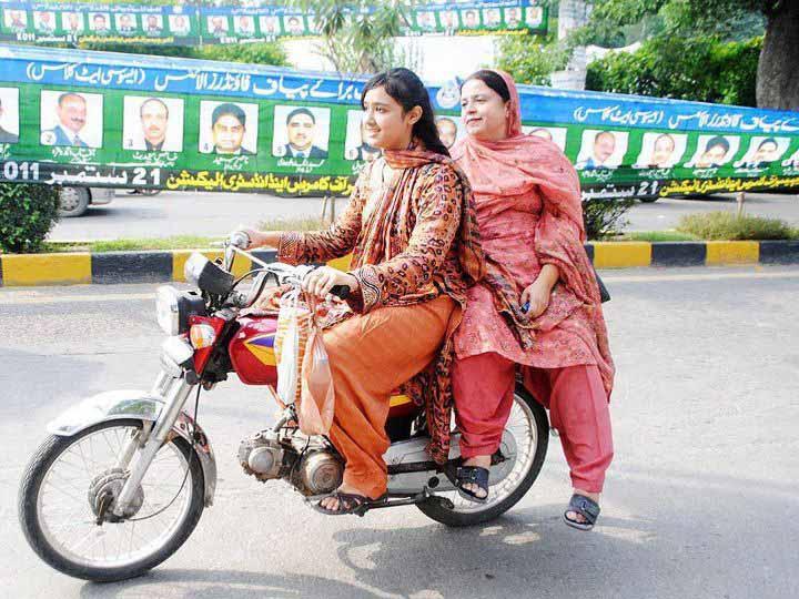 Female Motorbike riders in Lahore