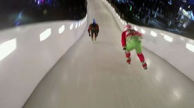 First Person View of a Downhill Ice Cross Course