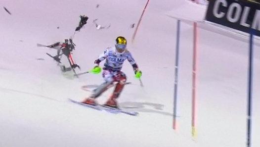 Champion Skier Avoids Falling Drone
