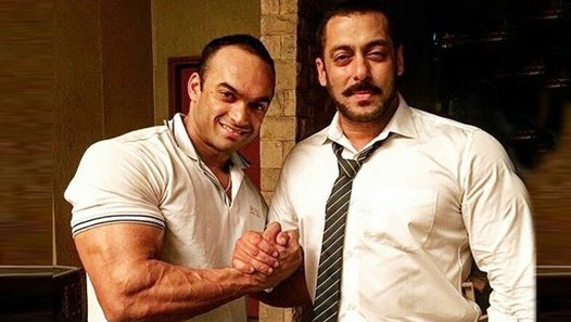 Salman Khan poses with Wrestling coach