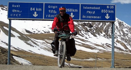 Pakistani travelling on cycle