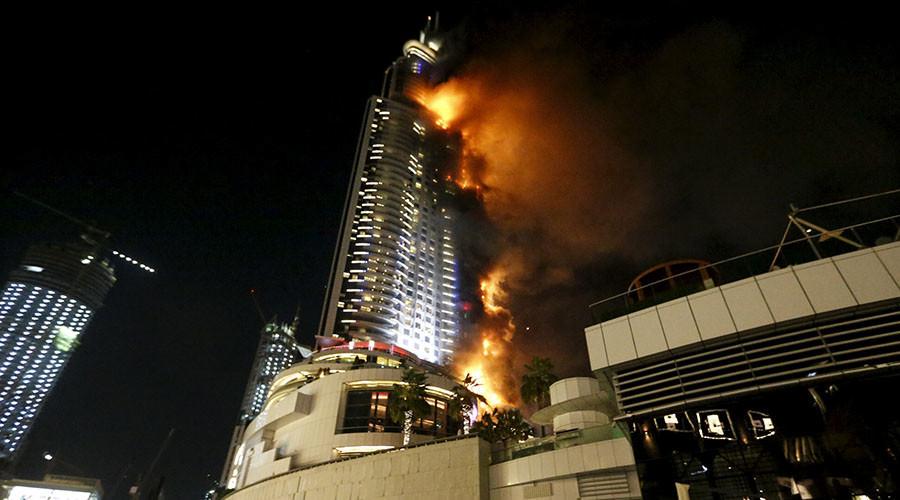 Fire Engulfs Dubai Skyscraper