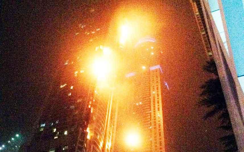 Huge Fire Engulfs Dubai Skyscraper On New Year's Eve