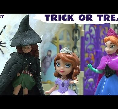 Trick Or Treat Halloween  Play Doh Frozen Fairy Princess Sofia Anna Queen Elsa Story Pirate Fairy
