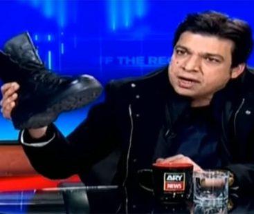 Faisal Vawda slammed for using a boot to mock opposition on TV