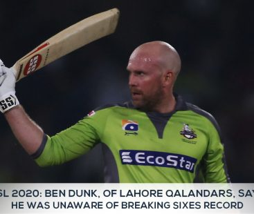Ben Dunk, of Lahore Qalandars, says he was unaware of breaking sixes record