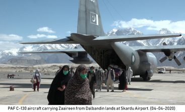 PAF C-130 Aircraft carrying Zaireen from Dalbandin landed at Skardu