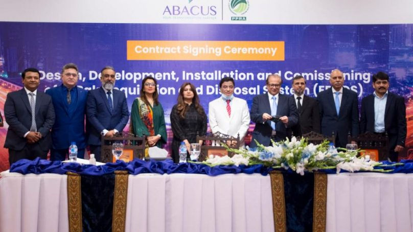 """Contract Signing between Public Procurement Regulatory Authority-Pakistan and Abacus Consulting for """"Designing, Development, Installation and Commissioning of e-Procurement (e-Pak Acquisition & Disposal) System (EPADS)"""""""
