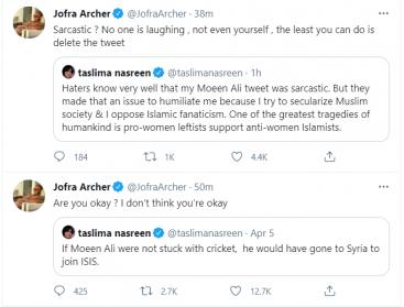 England cricketers stand up for Moeen Ali upon Taslima Nasreen's ISIS tweet