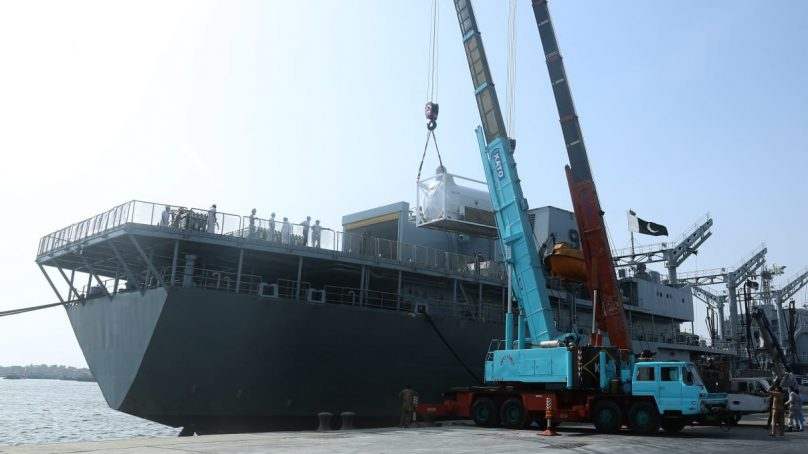Naval Ship NASR has transported medical supplies from Bahrain