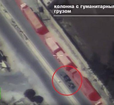 Russian MoDs drone video of a truck w heavy mortar gun driving next to UN aid convoy in Aleppo 389x360