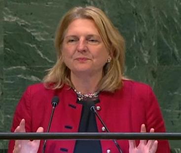 آسٹریا کی وزیر خارجہ کا عربی میں خطاب، عربی اقوام متحدہ کی 6 دفتری زبانوں میں شامل ہے۔