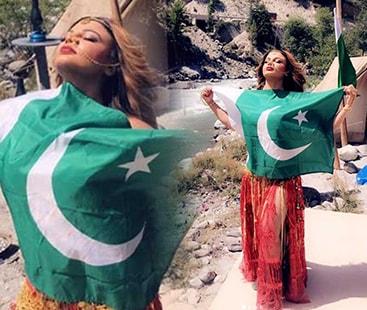 تنازعات کی ملکہ راکھی ساونت کی پاکستانی جھنڈے کے ساتھ تصویرسوشل میڈیا پروائرل