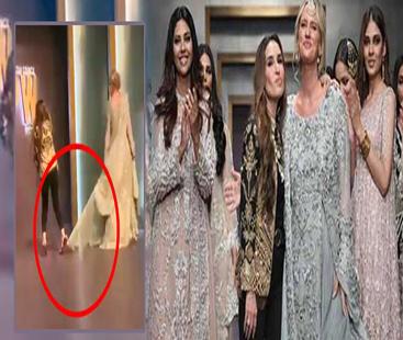 فیشن پاکستان ویک 2019 :معروف ڈیزائنر صبا اسدشنیرا اکرم کے ساتھ ریمپ پر واک کرتے ہوئے گر گئیں