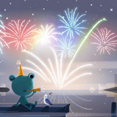 نئے سال کی آمد پر گوگل کے ڈوڈل میں بھی آسمان پر رنگ برنگی آتش بازی