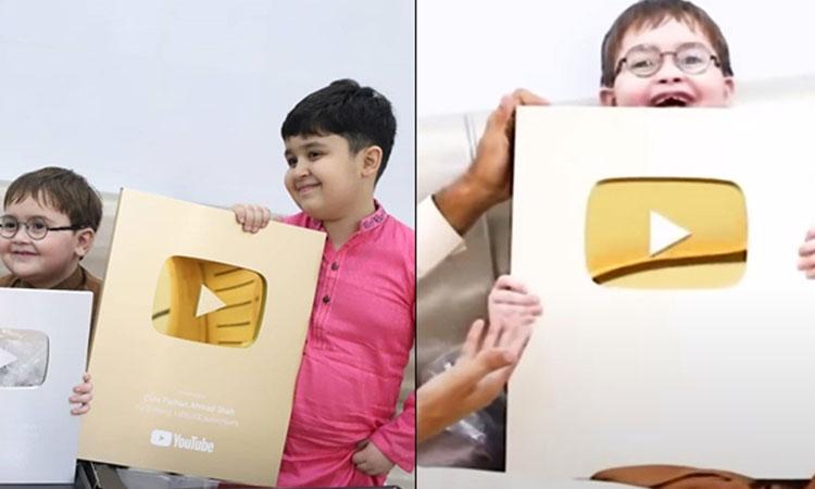 احمد شاہ نے 5 سال کی عمر میں سلور اور گولڈن پلے بٹن حاصل کرلیا