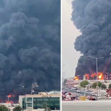 بیروت دھماکے کے بعد ، عجمان کی مارکیٹ میں خوفناک آتشزدگی