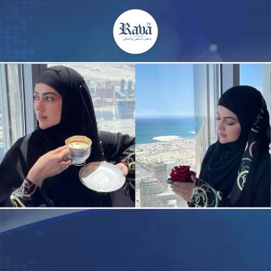 برج خلیفہ پر ثناء خان کی گولڈ پلیٹڈ کافی کی سوشل میڈیا پر دھوم۔۔