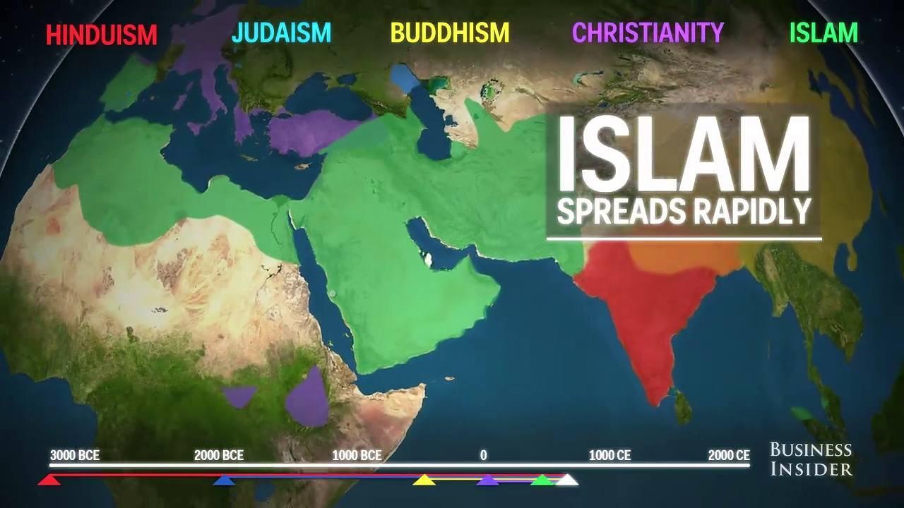 Animated Map showing spread of religion across globe