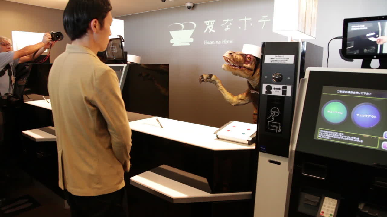 Robot Dinosaurs serve guests in Japan's hotel