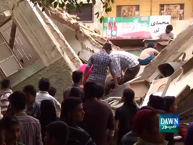 Two-storey building collapsed in Karachi