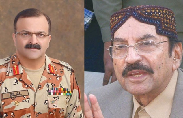 Maj Gen Bilal Akbar calls on Syed Qaim Ali Shah in Karachi