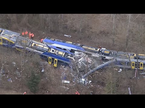 Aerial footage shows destruction of German train crash
