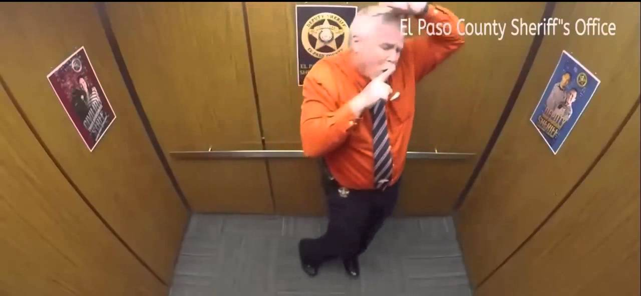 American Police Officer Dance In Lift After Retirement