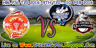PSL 2016 | Islamabad Vs Lahore Qalandars T20 Match 10 February 2016 2nd Innings