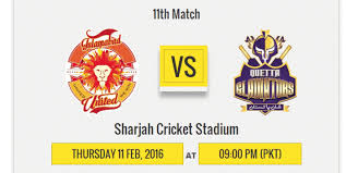 Quetta Gladiators Vs Islamabad United PSL Match Highlights 11 February 2016