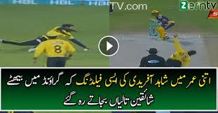 People in Crowd Stood Up on their Feet After Watching this Fielding Effort by Shahid Afridi
