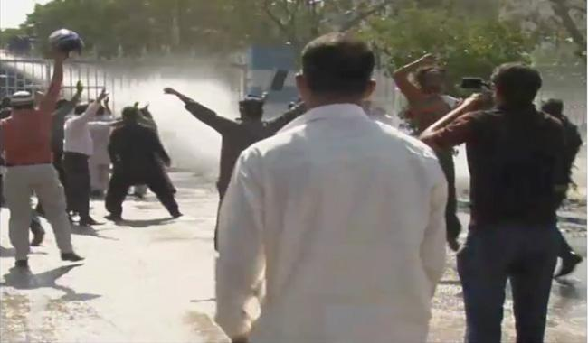 LEAs Use Water Cannon On PIA Employees