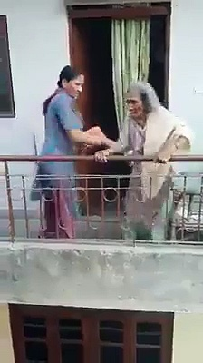 A Woman Brutally Assaulting Her Elderly Mother