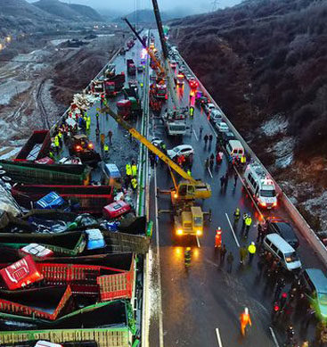 China: 56 Vehicles Pile Up on Expressway