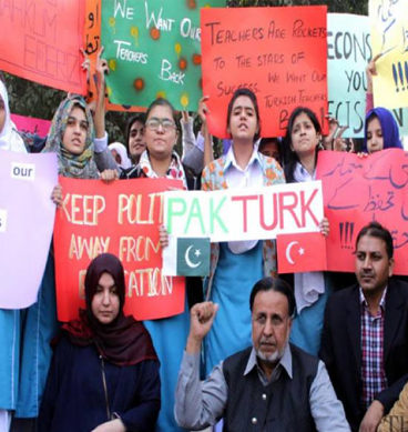 PakTurk School Students Stage Protest