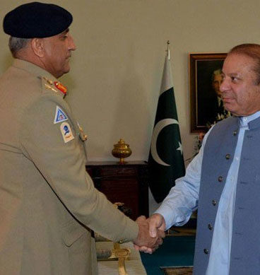 Pakistan Army Chief Qamar Javed Bajwa Meets Nawaz Sharif