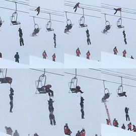 Man Hanging Unconscious By Backpack On Arapahoe Basin Chairlift