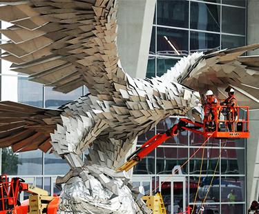 Atlanta Stadium's 73,000 Pound Falcon Statue