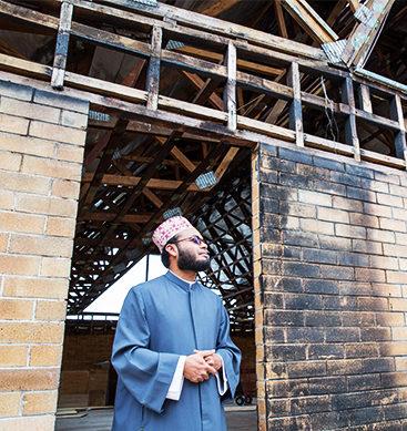 Video Shows Man Attempt Set Mosque Ablaze