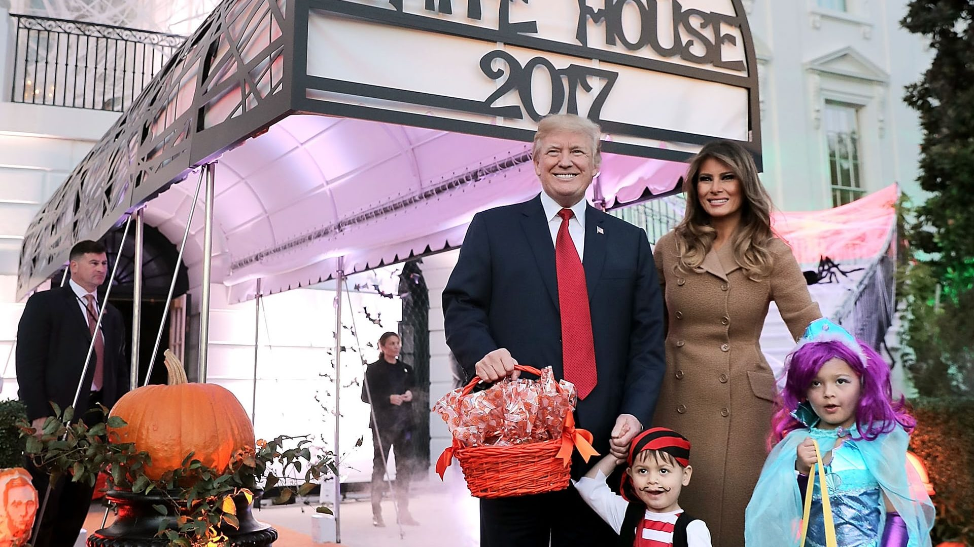Washington DC, US President Donald Trump and the first lady, Melania Trump, host Halloween at the White House Photograph: Chip Somodevilla/Getty Images