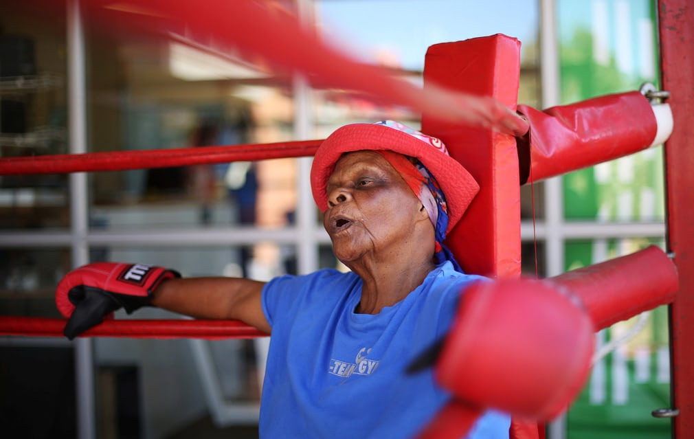 Constance Ngubane, 79, takes part in a boxing lesson in a suburb of Johannesburg Photograph: Siphiwe Sibeko/Reuters