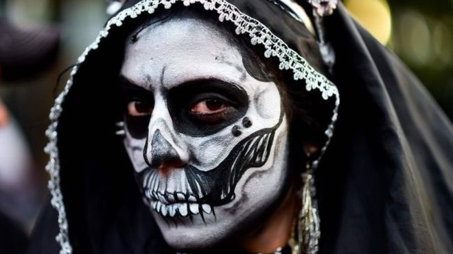 Make-up artists were on hand all day to make participants look like La Catrina, the name given to an elegant skeletal figure popular in Mexican culture.