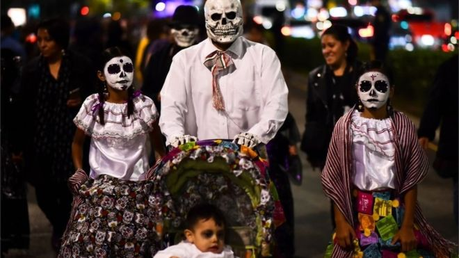 The event, held in the run-up to the Day of the Dead celebrations on 1 and 2 November, is aimed at all ages and whole families dressed up to take part in the parade.
