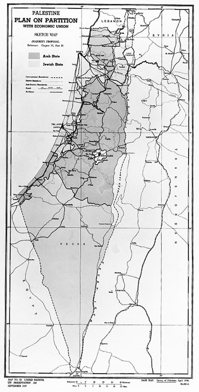 Map of the plan for the partition of Palestine that envisaged dividing it into 3 parts: an Arab State (dark tint), a Jewish State (light tint) and the City of Jerusalem (white) to be placed under an International Trusteeship system. © UN