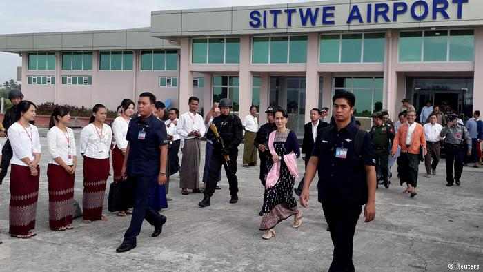 Suu Kyi makes her first visit to the troubled western Myanmar