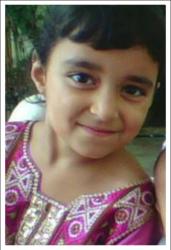 Khaula Bibi Age: 6 Class: 1 Daughter of Altaf Hussain and Safoora Bibi Siblings: Samar (12), Shobaid (11) and Areeba (4)